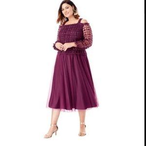 Roaman's Dress 28W Burgundy